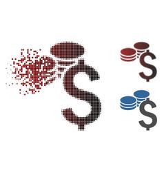 Broken pixel halftone dollar coins icon vector