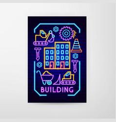 building neon flyer vector image