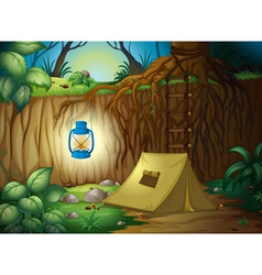 Camping in the jungle vector image