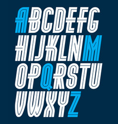 Capital condensed english alphabet letters vector