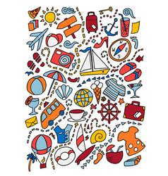 Cartoon cute doodles hand drawn travel vector
