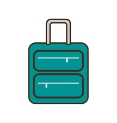 Cartoon green suitcase travel equipment vector