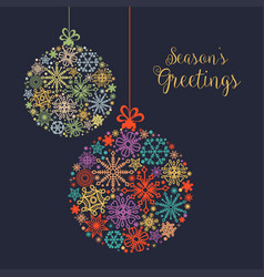 christmas card colorful snowflake balls ornaments vector image
