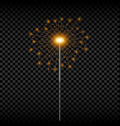 christmas sparkler realistic golden bengal light vector image
