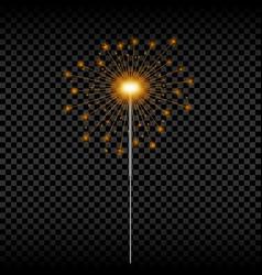 christmas sparkler realistic golden bengal light vector image