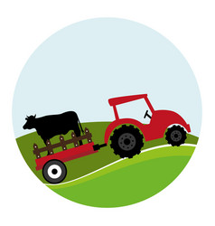 Circular landscape and tractor with trailer with vector