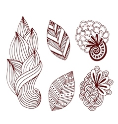 Creative nature collection in zentangle style vector