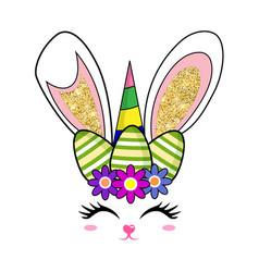 Cute easter bunny unicorn rabbit face vector