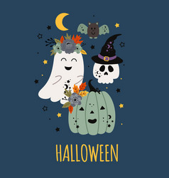 Cute halloween poster with pumpkin ghost scull vector