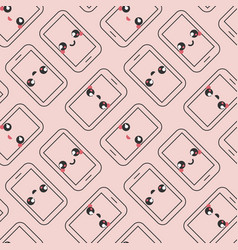 Cute mobile phone emoticons pattern vector