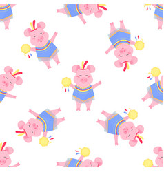 Cute pig in a costume and with a tambourine funny vector