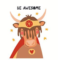 Cute yak superhero vector