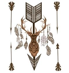 Decorative deer arrow feathers ornamental vector image