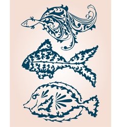 decorative fishes set vector image