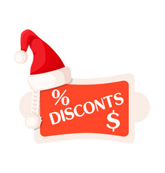 Discounts and percent dollar signs on festive tag vector