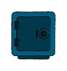 Drawing blue closed safe box money bank vector