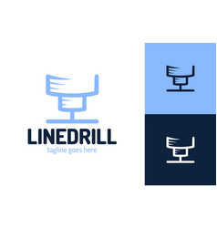 drill construction logo template drilling icon vector image