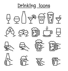 drinking glass in the hand icon set in thin line vector image