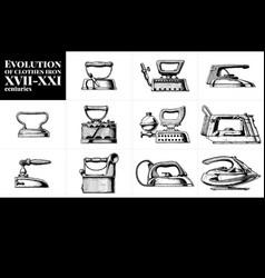 Evolution of clothes iron vector