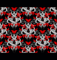 floral modern black red white seamless pattern vector image