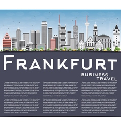 Frankfurt Skyline with Gray Buildings Blue Sky vector image