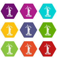 freedom statue icons set 9 vector image