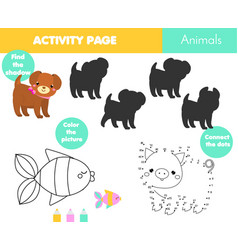 Fun activity page for kids educational children vector