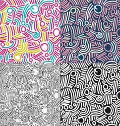 Funky pattern set vector