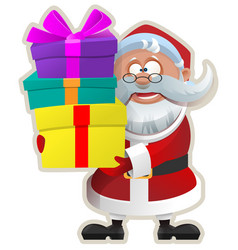 Funny santa keeps box with gift christmas sticker vector