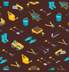 garden tools 3d seamless pattern background vector image