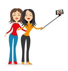 Girlfriends are photographed on a smartphone vector