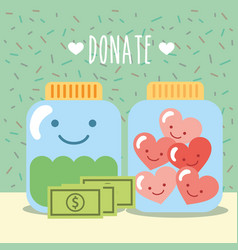 glass jars with hearts and money donate charity vector image