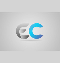 Grey blue alphabet letter ec e c logo icon design vector