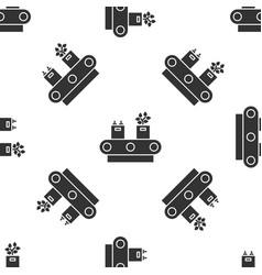 Grey conveyor belt with cardboard box icon vector