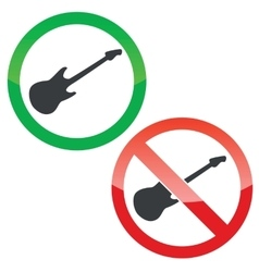 Guitar permission signs set vector