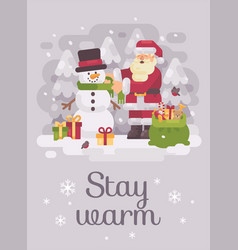 happy santa claus giving a scarf to a cute vector image