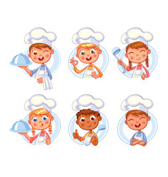 Happy smiling chef cook collection vector