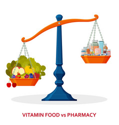 healthy food and medicines on balanced scale vector image