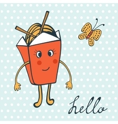 Hello card with funny character chinese food box vector