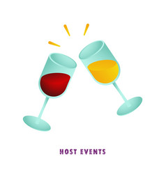 host events two glasses of wine vector image