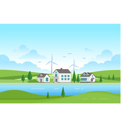 Housing estate with windmills by the river - vector