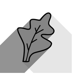 lettuce leave sign black icon with two vector image