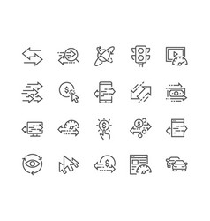Line traffic icons vector