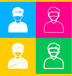 man with sleeping mask sign four styles of icon vector image