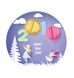 merry christmas card color paper cut design vector image