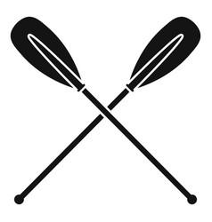 metal crossed oars icon simple style vector image