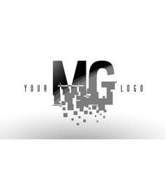 Mg m g pixel letter logo with digital shattered vector