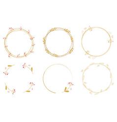 minimal golden dandelion wreath frame collection vector image