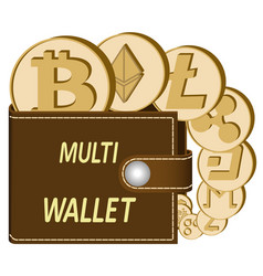 Multi crypto currency wallet with coins vector