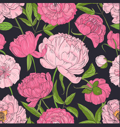 natural seamless pattern with blooming pink vector image